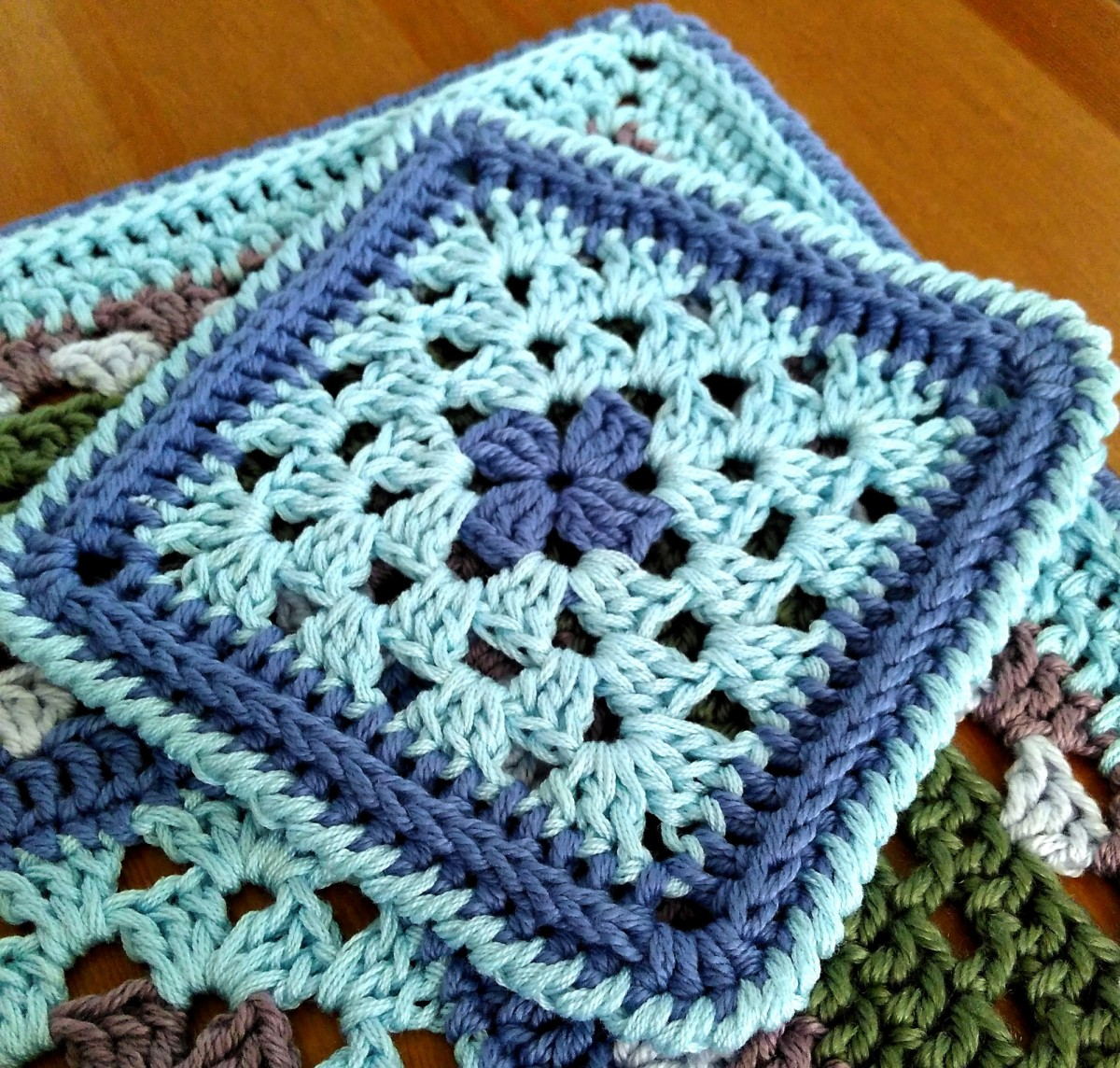 Granny square crochet coaster