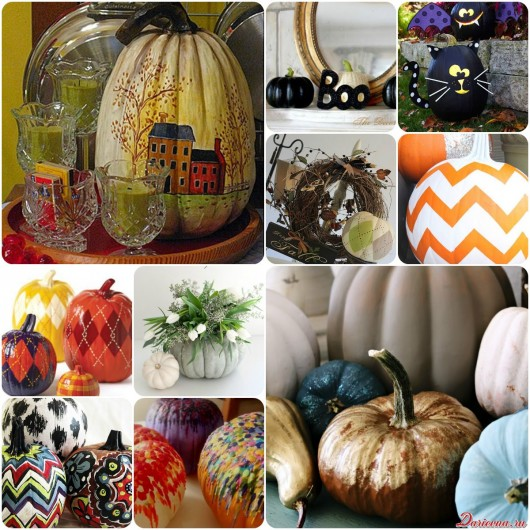 10 ideas for painted pumpkin decoration
