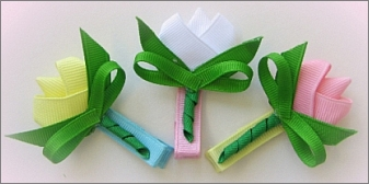 How to Make a Tulip Hair Bow Clips Instruction - M2M Gymboree 2