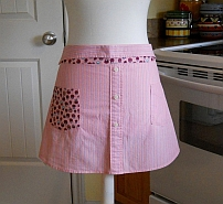 Upcycled Men's Shirt Apron - Pink Stripes with Pink Tomatoes